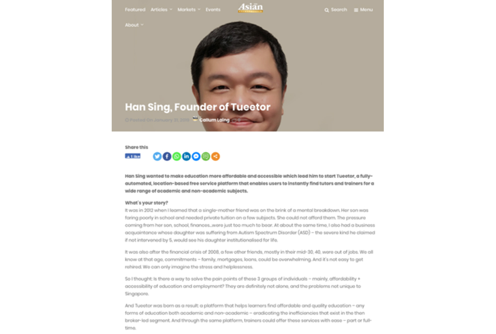 Tueetor Founder Featured on Asian Entrepreneur