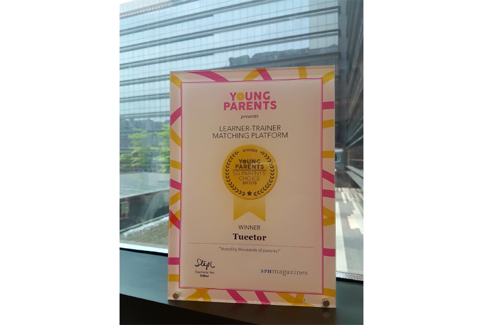 Tueetor Winner Of The SG Parents Choice Award 2017-2018